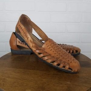 Woven Brown Leather Flat Sandal